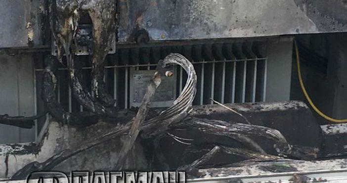 Снимки ФлагманТрафопост избухна в пламъци и остави без ток за