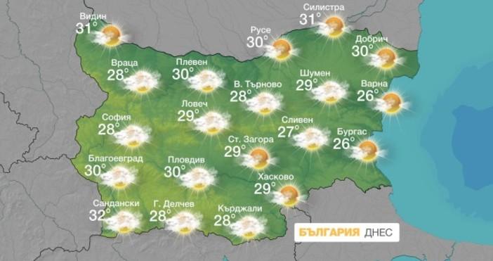 БтвДнес отново ще бъде слънчево с временни увеличения на облачността.Ще