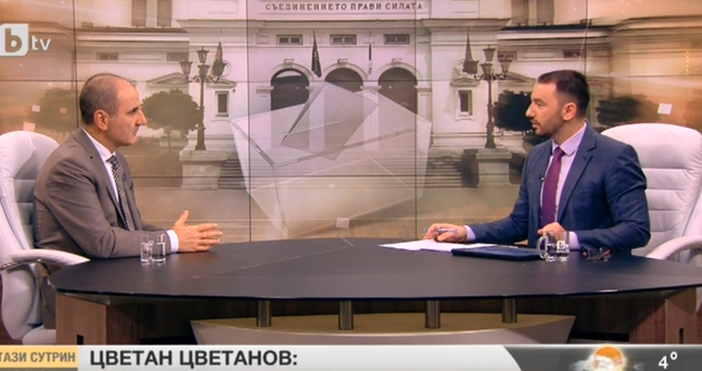 """Кадър: БТВЗам.председателят на ГЕРБ Цветан Цветанов е гост в """"Здравей,"""