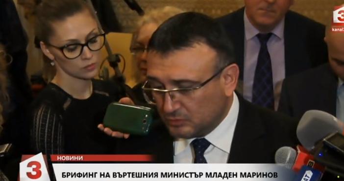 Кадър: Канал 3Току що на брифинг вътрешният министър Младен Маринов