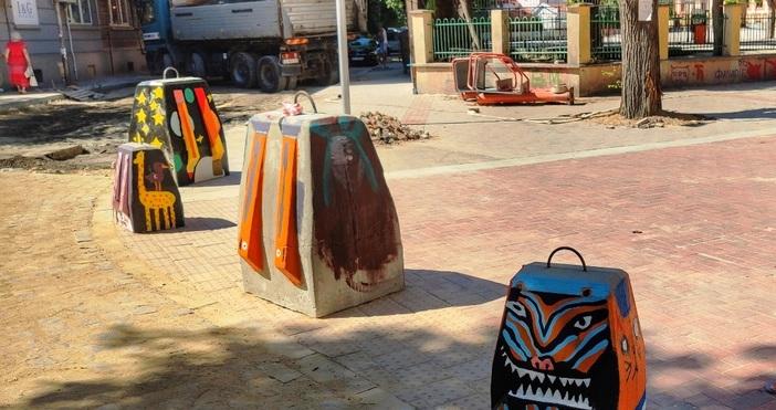 снимки: БулфотоДецата оцветиха по собствени проекти бетонните ученически чанти –