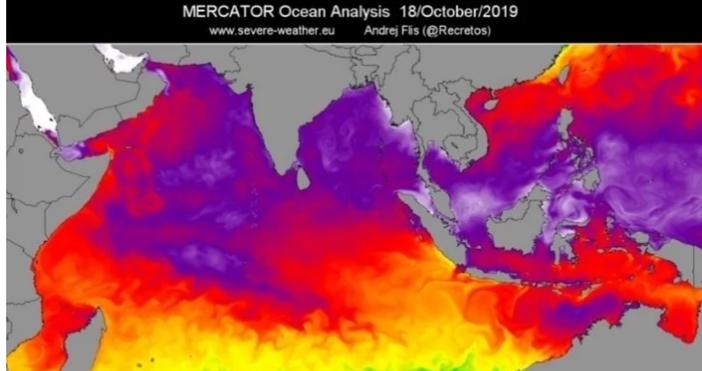 В Индийския океан се разви необичайно силно събитие на покачване