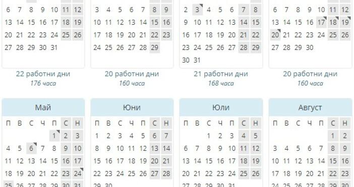 Юли 2020ще бъденай-натовареният месецс 23 работни дни.Най-свободен за трудещите сепък