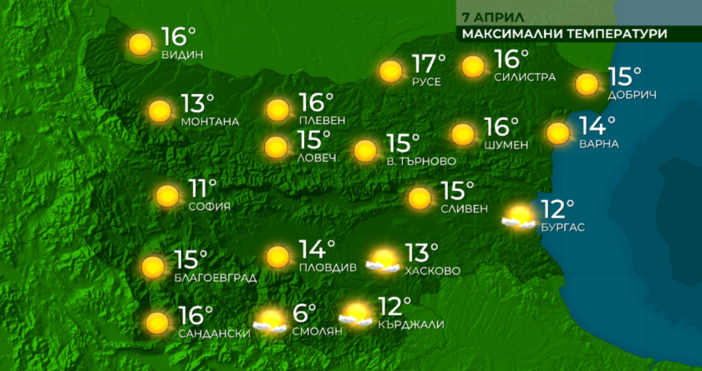 Максималните температури в по-голямата част от страната ще бъдат между