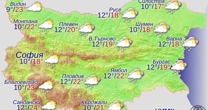 Във вторник облачността ще е значителна, купеста и купесто-дъждовна и