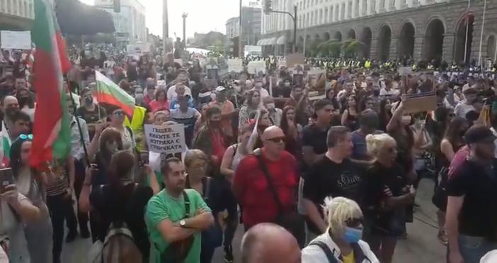 """Кадър и видео: """"Петел""""Протестът в правителството в София набира скорост."""