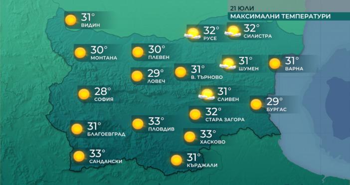 Днес ще бъде предимно слънчево, с временни увеличения на облачността