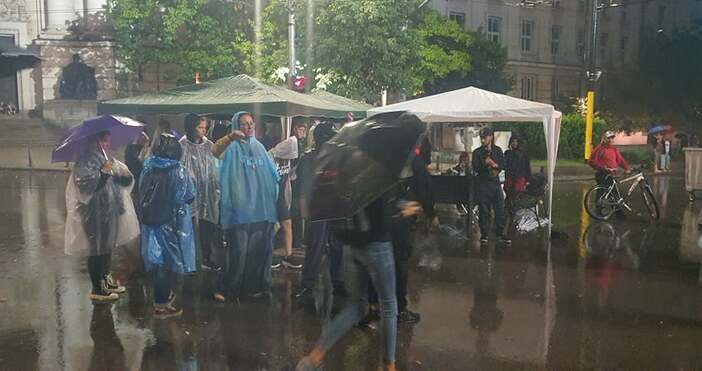 """Снимки и видео: """"Петел""""Протестът в София набира сила, въпреки дъжда.Протестиращите"""