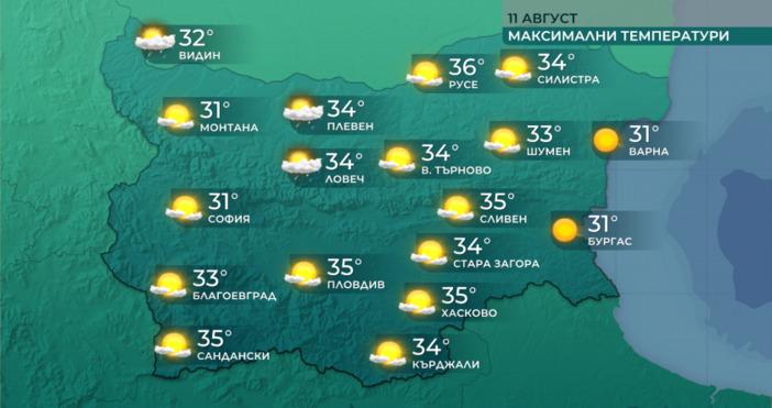 Графика: БНТДнес ще бъде слънчево с максимални температури между 31°