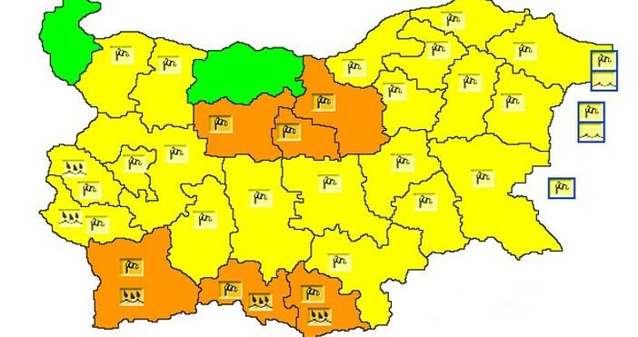 схема НИМХЖълт код за силен вятър в почти цялата страна