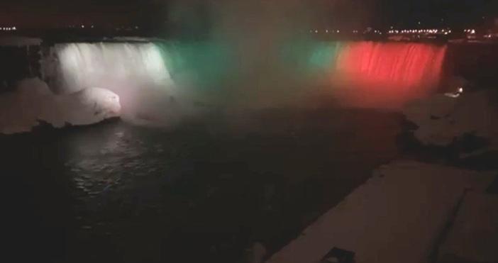 Редактор:e-mail:кадър и видео: Фейсбук/Тази нощ Ниагарският водопад беше осветен в